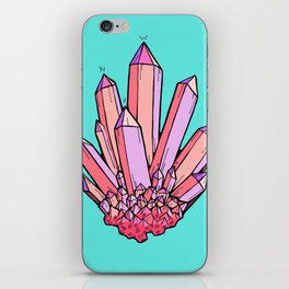 Crystal Cluster- Pink & Mint iPhone Skin