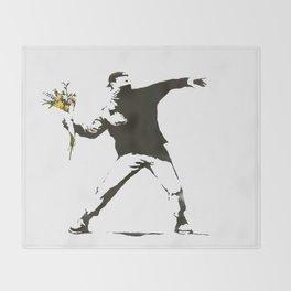 Banksy - Man Throwing Flowers - Antifa vs Police Manifestation Design For Men, Women, Poster Throw Blanket