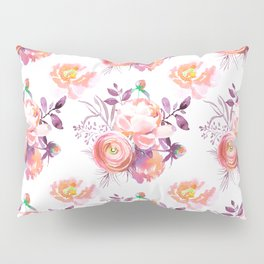 Purple orange pink hand painted watercolor roses Pillow Sham