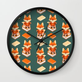 Book lover fox illustration + pattern Wall Clock