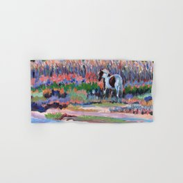 Chincoteague Pony, a colorful landscape of a wild horse in the dunes on the beach in Virginia. Hand & Bath Towel