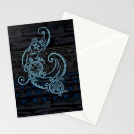 Hawaiian Teal Tribal Turtles Stationery Cards
