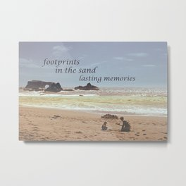 Footprints in The Sand Metal Print