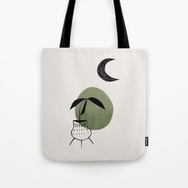 Olive Green Minimalist Mid Century Modern Vase Plant Pot Moon Ancient Ruin by Ejaaz Haniff Tote Bag