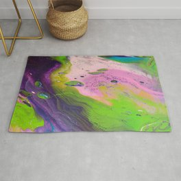Fluid Art Acrylic Painting, Pour 14, Purple, Green, Pink & Blue Blended Colors Rug