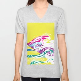 Neon Ocean Waves Abstract Contemporary Simple Pattern Unisex V-Neck