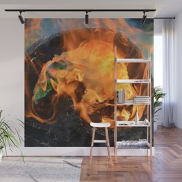fire in a hollow log Wall Mural