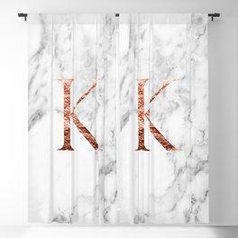 Monogram rose gold marble K Blackout Curtain