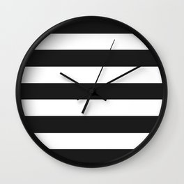 Eerie black - solid color - white stripes pattern Wall Clock