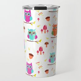 Artistic hand painted pink teal cute owl floral pattern Travel Mug