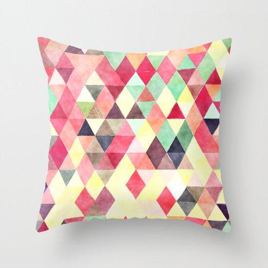 Retro Triangles Pattern 02 Throw Pillow