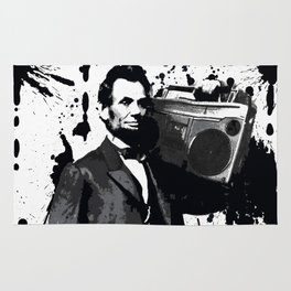 ABRAHAM LINCOLN INK SPLASH MAKE MUSIC NOT WAR Rug