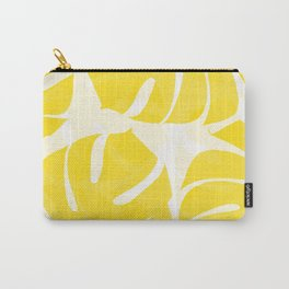 Mellow Yellow Monstera Leaves White Background #decor #society6 #buyart Carry-All Pouch