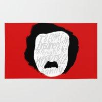 edgar allan poe Area & Throw Rugs featuring Edgar Allan Poe: Insanity by Kelly Irene