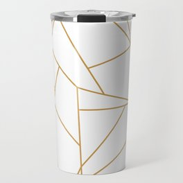 Geometric Gold Hexagon Pattern Travel Mug