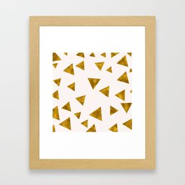 Soft Pink And Rustic Gold Triangles Framed Art Print