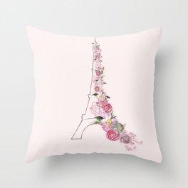 Paris in Flower Love Throw Pillow