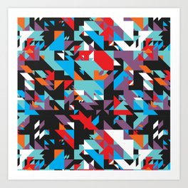 Colorful Texture Purple, Turquoise, Orange, White, Red and Black Art Print