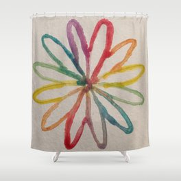 Spirograph Rainbow flower Shower Curtain
