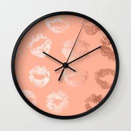 Sweet Life Lips Peach Coral Pink Shimmer Wall Clock