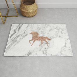Rose gold unicorn on marble Rug