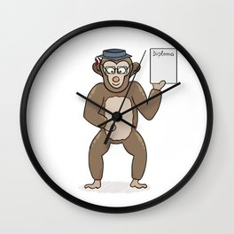 clever monkey with diploma Wall Clock