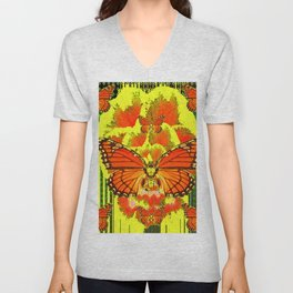 MODERN MONARCH BUTTERFLIES GREEN-YELLOW ART Unisex V-Neck