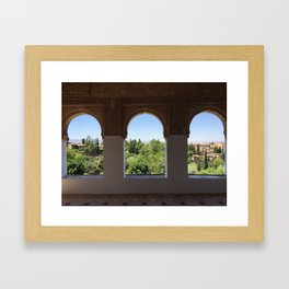 The ancient Alhambra Palace windows Framed Art Print