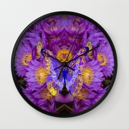 PURPLE WATER LILIES BUTTERFLY DESIGN Wall Clock