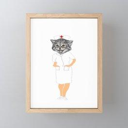 Cat Person Nurse Funny Cat in Nurse Scrubs Framed Mini Art Print