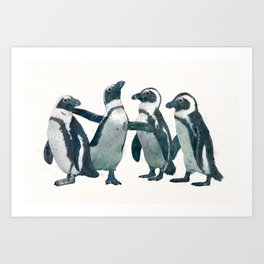 penguin party Art Print