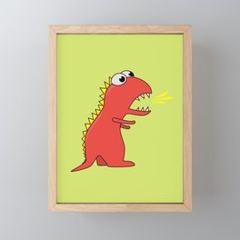 Cute Cartoon Dinosaur With Fire Breath Framed Mini Art Print