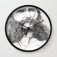 moustache Wall Clocks featuring Moustache by Paul Nelson-Esch Art