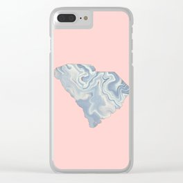 Marble South Carolina map Clear iPhone Case