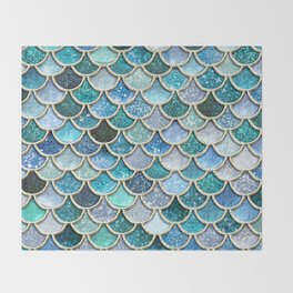 Multicolor Aqua Mermaid Scales - Beautiful Abstract Glitter Pattern Throw Blanket