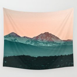 Grainy Sunset Mountain View // Textured Landscape Photograph of the Beautiful Orange and Blue Skies Wall Tapestry