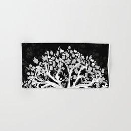 The Zen Tree - White on Black Hand & Bath Towel