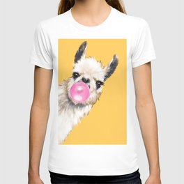Bubble Gum Sneaky Llama in Yellow T-shirt