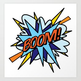 BOOM Comic Book Flash Pop Art Cool Fun Graphic Typography Art Print