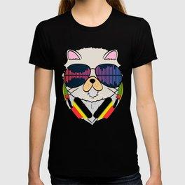 "Unique Cat Music Tee For Musicians ""Cat Headphones"" T-shirt Design Notes Musical House Home Gradient T-shirt"