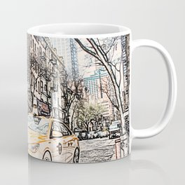 Taxi New York City Usa Street ArtWork Painting Coffee Mug