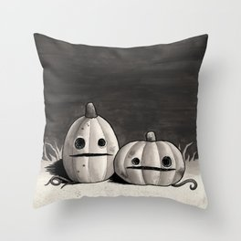 Old Friends - Halloween Pumpkins in Black and Grey Throw Pillow