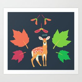 White-tailed Deer + Red Maple Art Print