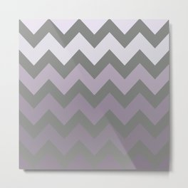 Grey and Lavender Chevron for Cosmos Glow Metal Print
