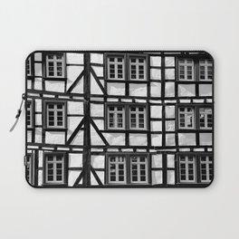 Black and white medieval street scene Laptop Sleeve