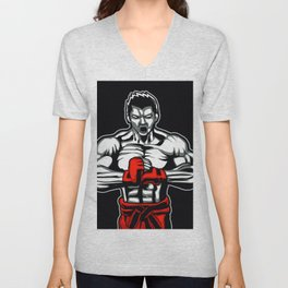 fighter mascot fighter pose ready to fighting Unisex V-Neck
