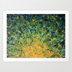 IRISH SUNRISE - Beautiful BOLD Lime Kelly Forest Green Sunrise Sunset Abstract Nature Painting Art Print