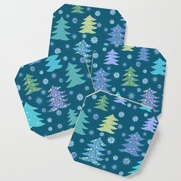 Winter Holidays Christmas Tree Green Forest Pattern Coaster