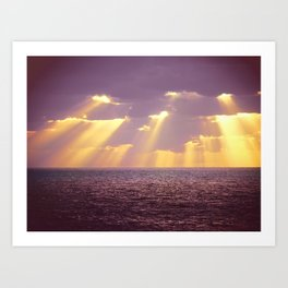 Golden Ray Over Sea Art Print