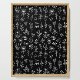 Little Patagonian Wildflowers - Black Serving Tray